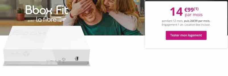 offre BBox Fit Fibre à 14,99€/mois pendant 12 mois puis 26,99€/mois