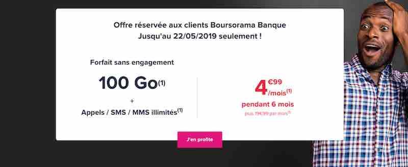 Promotion Boursorama Banque avec Woot 100 Go à 4,99€/mois